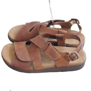 SAS Tripad Comfort brown leather buckle up sandals